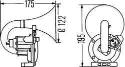 Сигнал звуковой пневматический Hella 3PA 004 206-031