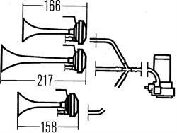 Сигнал звуковой пневматический Hella 3PD 003 001-981
